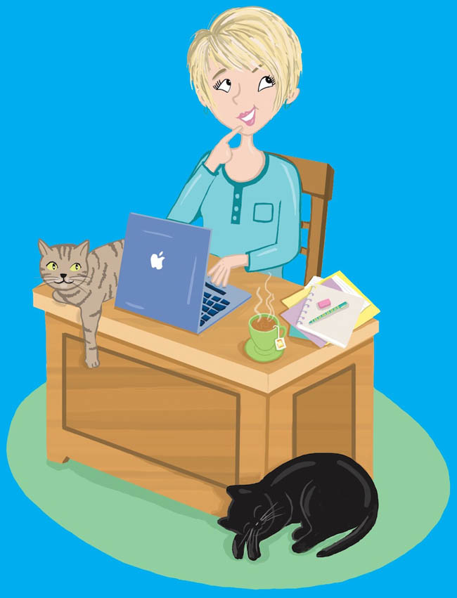 Lee Wardlaw Sitting at desk with cat cartoon graphic