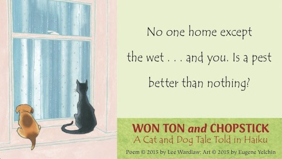 sample image from won ton and chop stick a cat and dog tale told in Haiku book